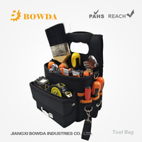 8 1/2 In Multifunction Small Electrical and Maintenance Tool Carrier, 16 Pocket Tool Bag with Shoulder Strap