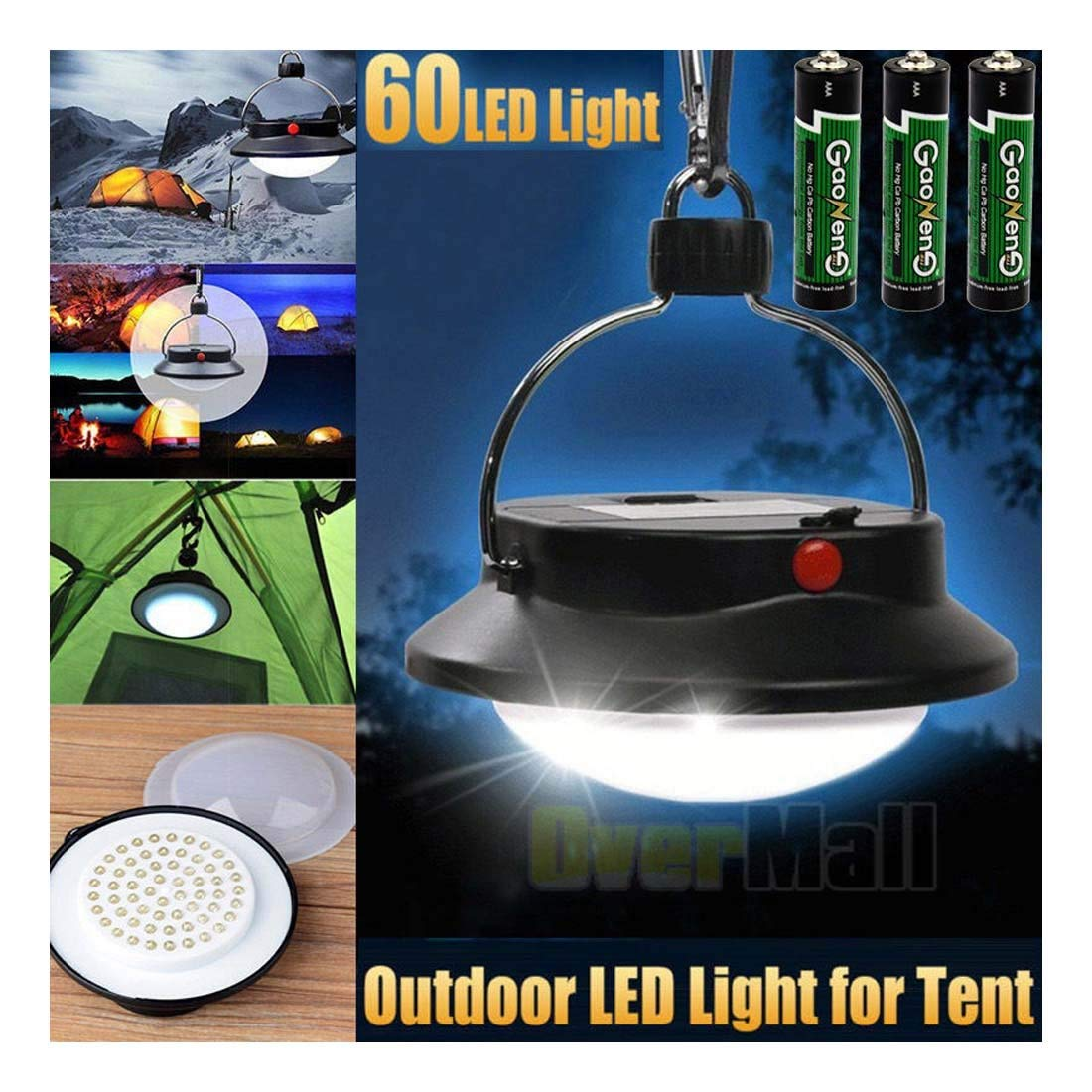 60 LED Portable Rechargable Tent Night Light Lantern Camping Outdoor Lamp - Size: 11.5cm x 5.5cm approx
