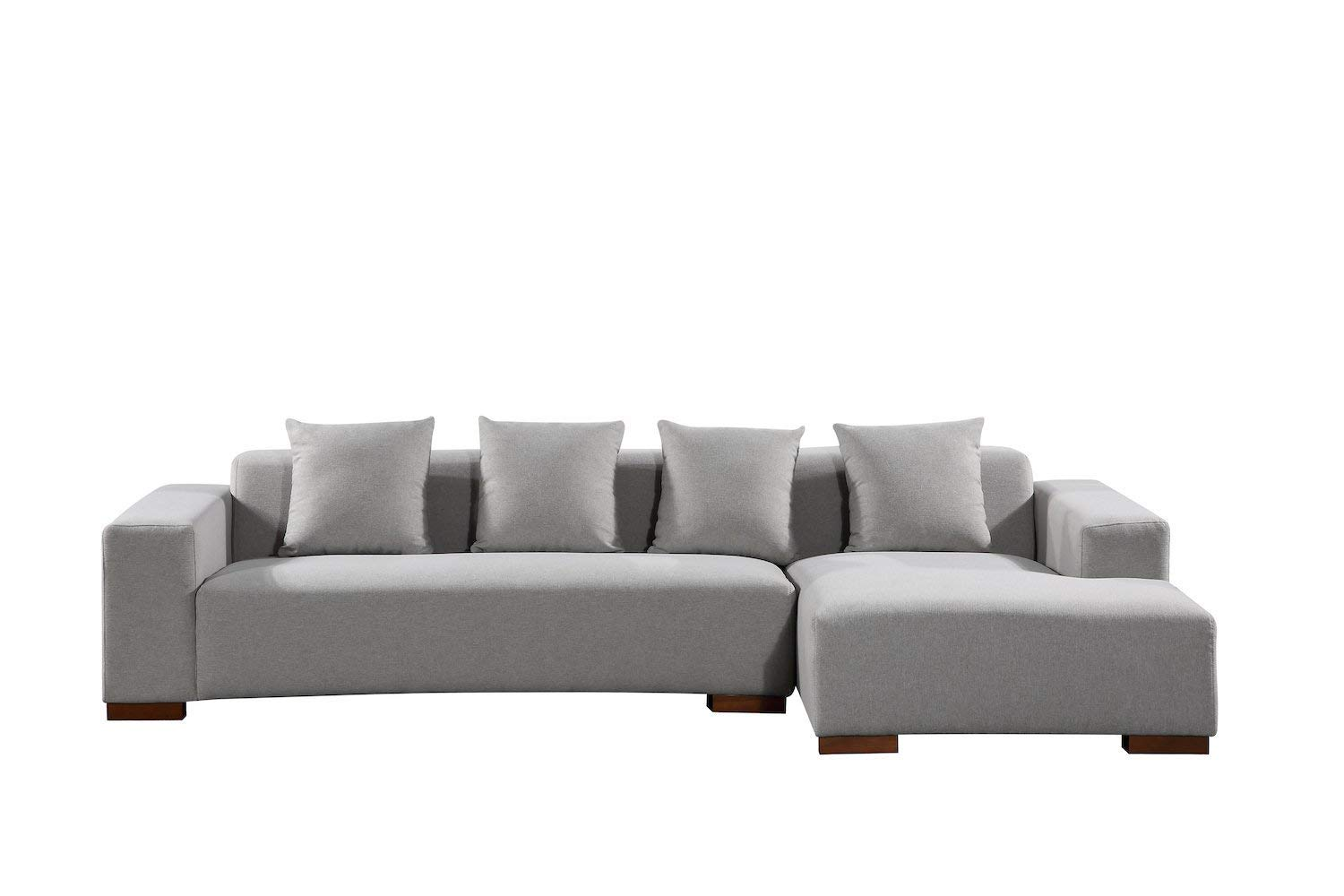 Velago Lyon Modern Fabric Sectional Sofa with Cushions, Light Gray