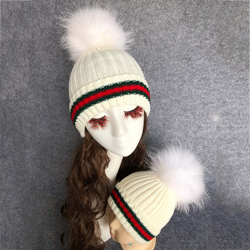 large raccoon fur ball knit hat knit beanie cap winter hats with pom poms