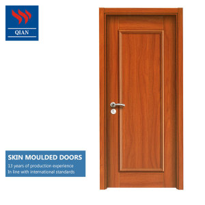 HDF skin moulded flush design interior melamine laminated veneer wooden panel composite skin door