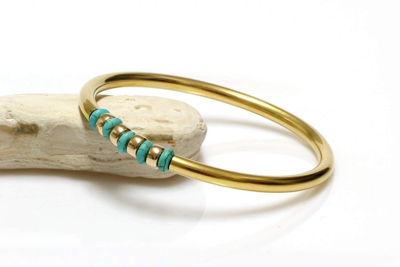 Turquoise bracelet,gold bracelet,gold bangle,gold filled bracelet,beaded bracelet,tube bangle,tube bracelet