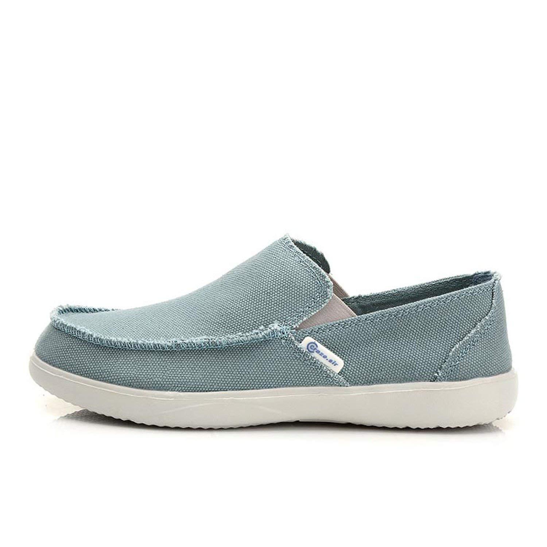 Cloud-Impression 2018 Fashion Summer Men Canvas Shoes Breathable Casual Shoes Men Shoes Loafers Comfortable Ultralight Lazy Shoes Flats,Denim Blue,7.5