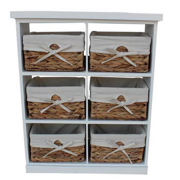 Wicker Storage Drawers Cabinet With Straw Drawer