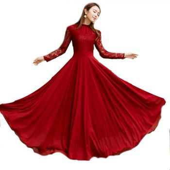 Fall Women Lace Cotton Splice Long Sleeve Maxi Swing Dress Elegant Slim Big Pendulum Red Long Party Dress for Autumn