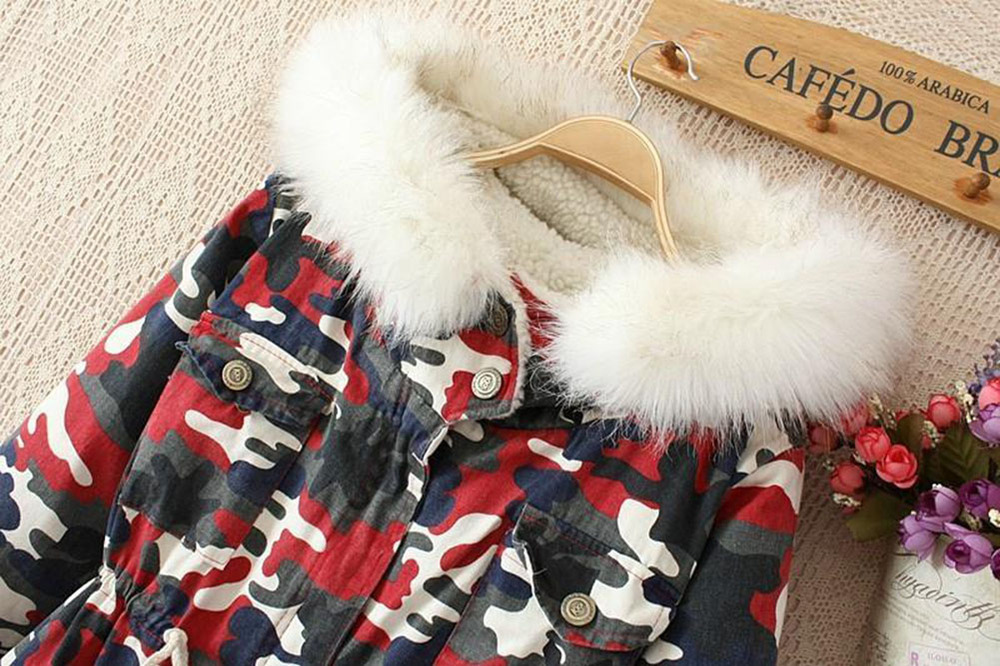 Women's Thicken Camouflage Fleece Faux Fur Warm Winter Coat Hooded ...