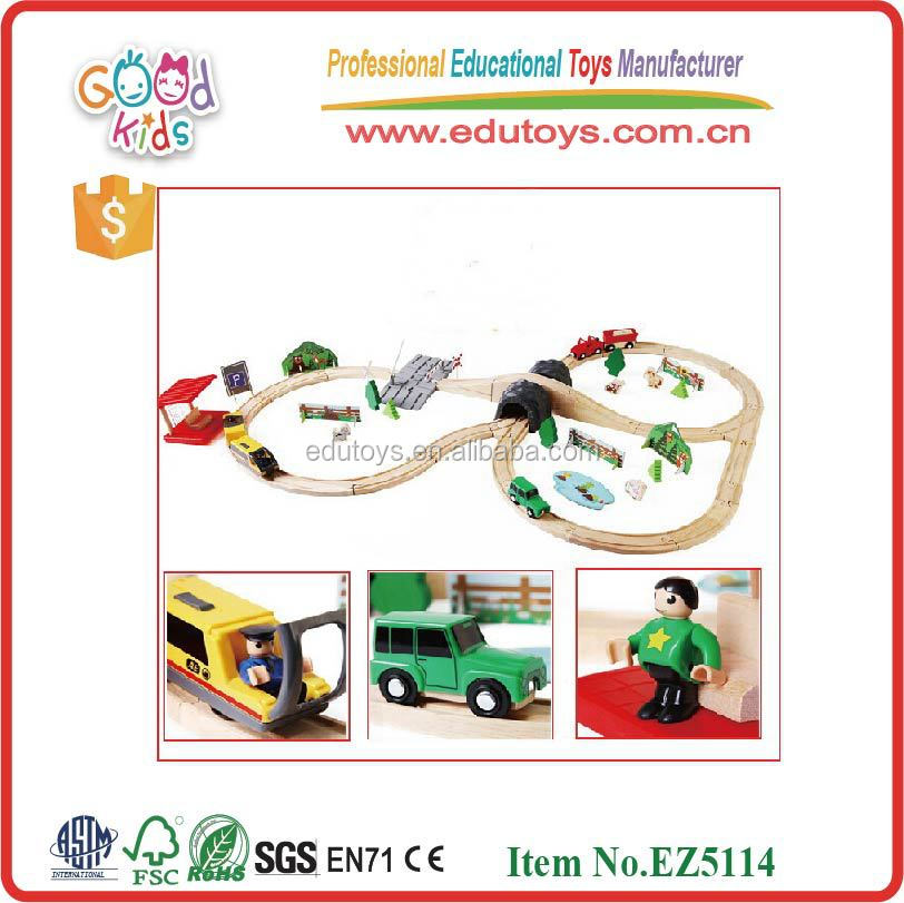 hot sale kids toy play tive 80pcs train toys OEM intelligent wooden toys train EZ5114