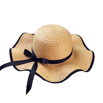 36d9d0f9 New fashion design wholesale custom ladies black bands summer sun straw hat