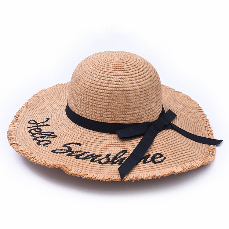 c2d96142 2019 nuevo verano sol sombrero playa plegable bordado cartas deckle de ala  ancha sombrero de paja