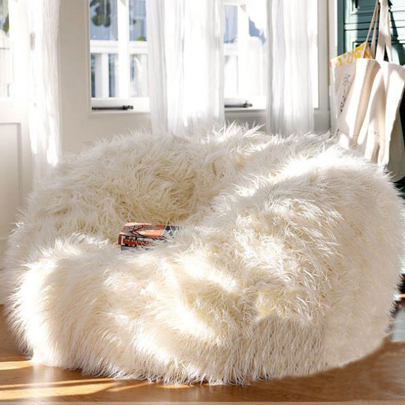 86b1c69aad6e Fluffy fur large bean bag  faux fur bean bag chair  shaggy bean bag seat