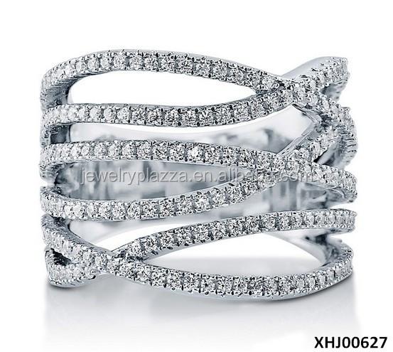 925 Sterling Silver Cubic Zircon Silver Ring Design Wholesale Wedding Ring