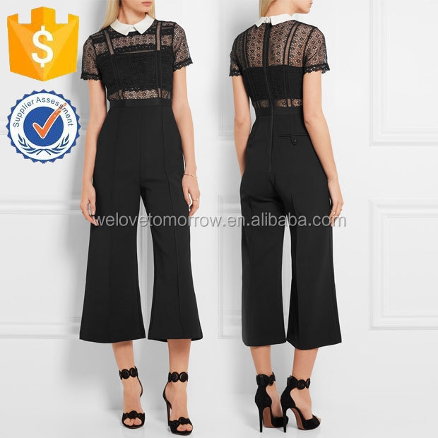New Ladies Black Guipure Lace and Crepe Jumpsuits Manufacture Wholesale Fashion Women Apparel(TS0044J)