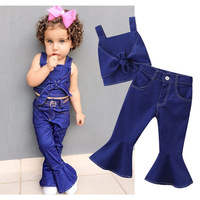 Hot selling popular styles kids clothing set spaghetti strap backless bow top jean bell bottom trousers children clothes girls