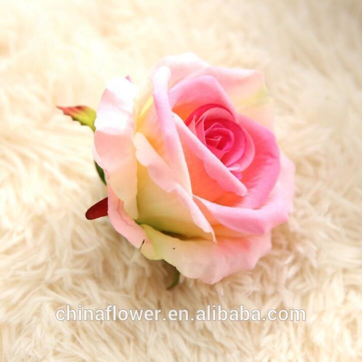 Hot sale artificial flowers velvet <strong>rose</strong> <strong>head</strong> for wedding decoration
