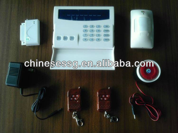 shop wireless pstn alarm with 8 LED zone,office burglar PSTN alarm