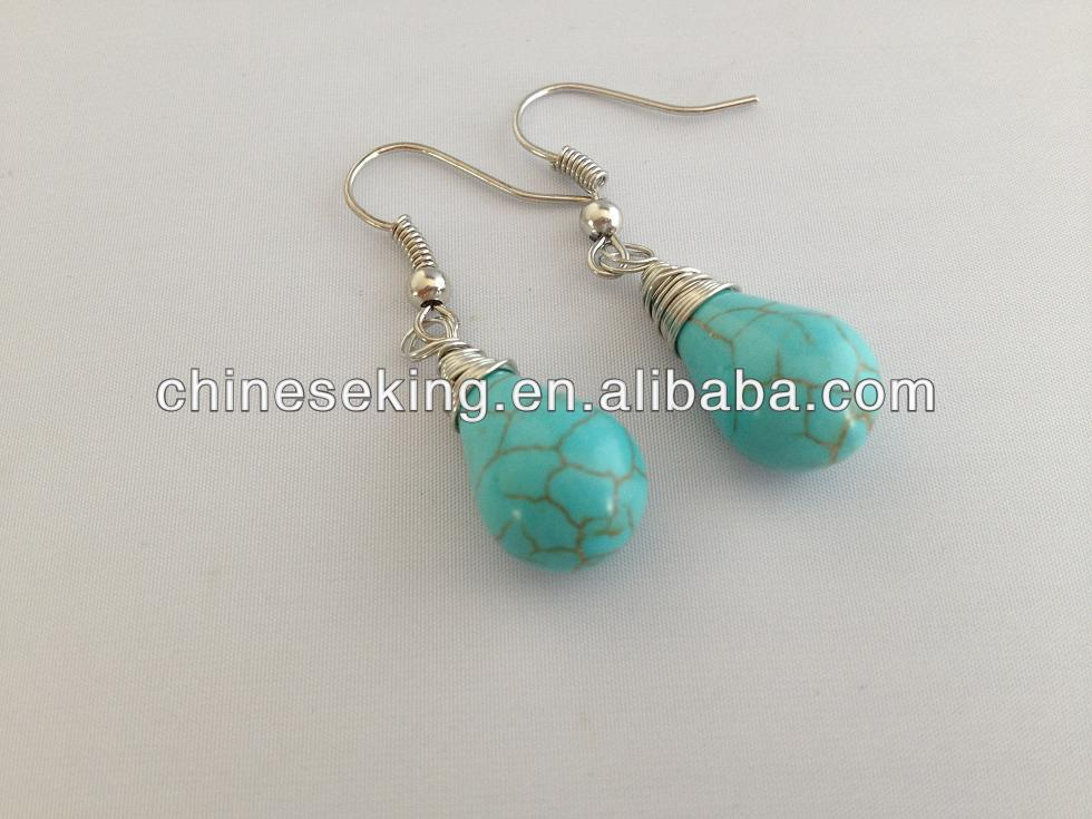 Wire Wrapped Teardrop Earring High Quality Turquoise Stone Dangle ...