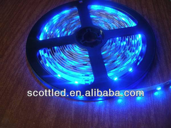 Blue Color Flexible LED Strip 3528 SMD;60leds/m;5m/reel;DC12V input;White PCB;non-waterproof IP20