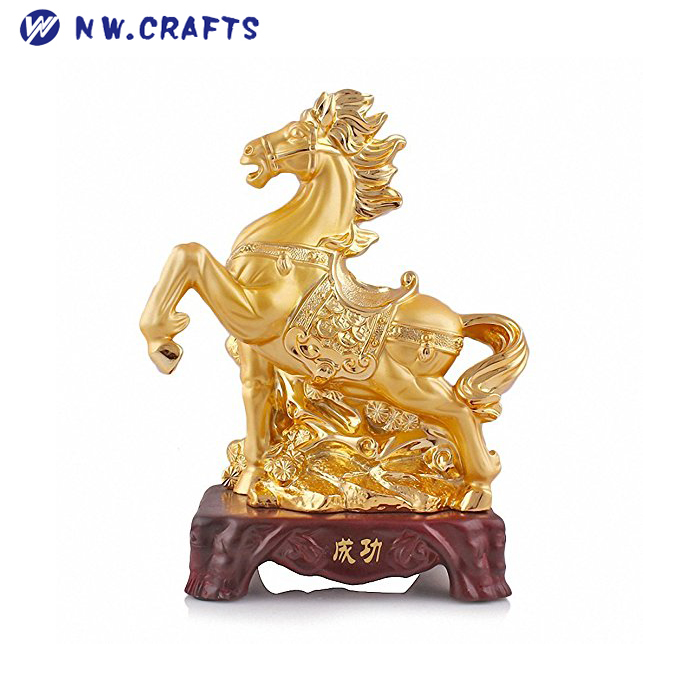 Custom Size Chinese Zodiac Horse Golden Resin Collectible Figurines Table Decor Statue