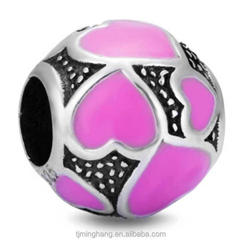 Manufacture 925 Sterling Silver Charms Italy Enamel DIY Jewelry Silver Bead for European Bracelets Wholesale Loose Bead