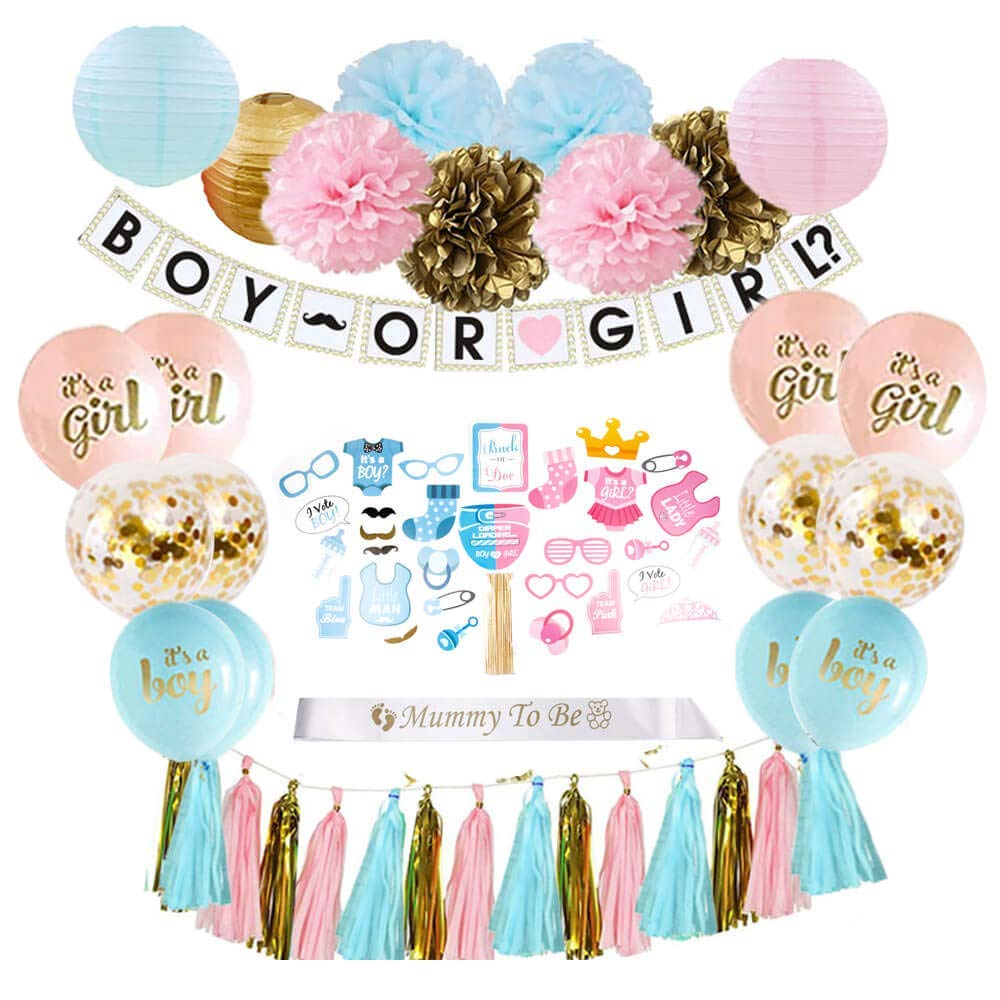Gender Reveal Party Supplies (69 Pieces) with Photo Props and Sash - Premium Baby Shower Decorations Set - Features Confetti Balloons, Boy or Girl Banner, Paper Lanterns, Tassel Garland, and Pom Poms