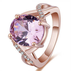 2 colors New Style Big Pink Oval Crystal AAA Zircon Rings for Women anillos mujer ring female diamond rings for women size6-10