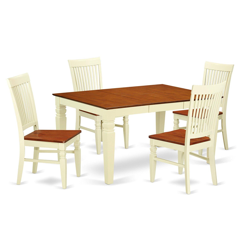 East West Furniture WEST5-BMK-W Weston Wooden Dining Set, 5 Piece, Buttermilk/Cherry