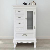 Shabby chic teak wood office furniture wood cupboard white glass storage cabinet