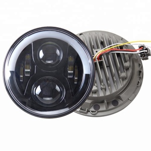 China Factory Round half halo ring 7 inch led car headlamp