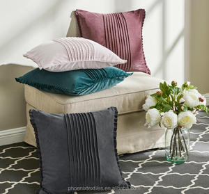 High quality pleats/pintuck velvet 43x43cm cushion cover