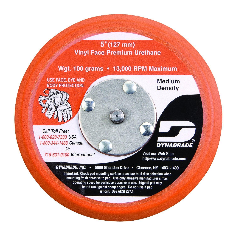 Dynabrade 56175 5-Inch Diameter Vinyl-Face 5/8-Inch Thick Urethane Medium Density 5/16-Inch-24 Male Thread Non-Vacuum Disc Pad, Orange