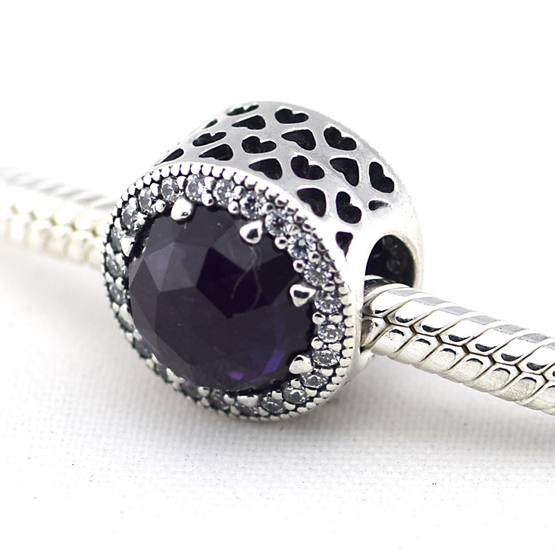 a166b087b Get Quotations · Radiant Hearts Silver Charm with Royal Purple Crystal &  Clear CZ 925 Sterling Silver DIY Beads