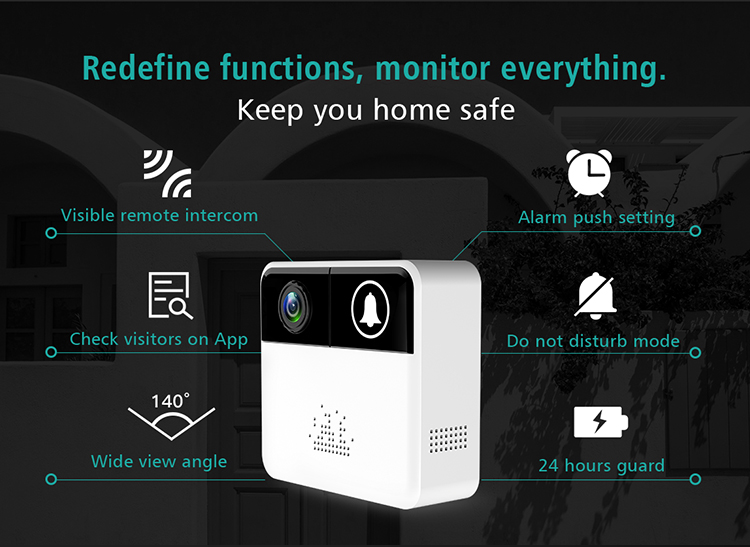 720P Security wireless wifi IP doorbell Camera