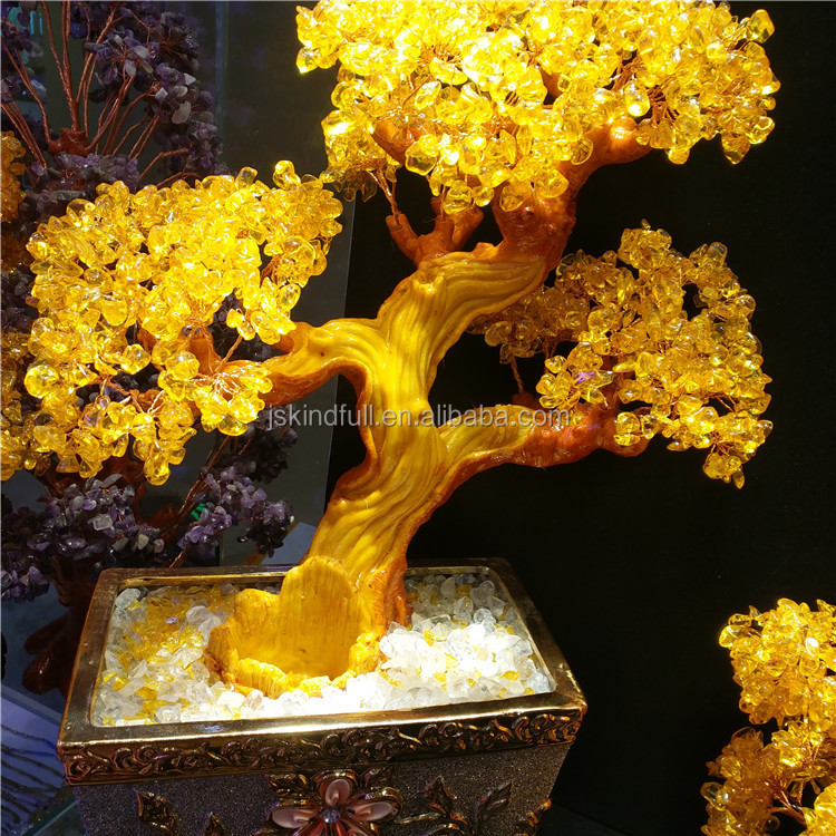 Wholesale china decorative citrine crystal bead christmas trees for carft