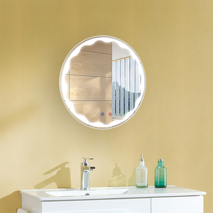 frameless touch screen switch bathroom vanity led edge lip round mirror