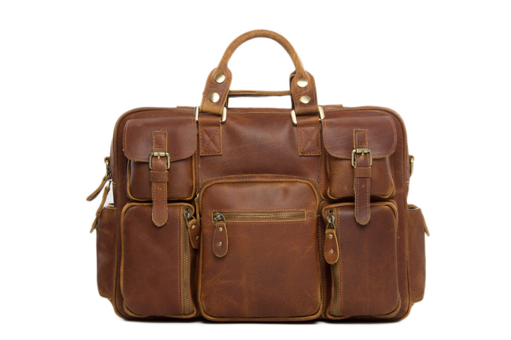 Extra Large Genuine Leather Travel Bag Multi-used Duffle Bag Unisex Handbag Vintage Leather Briefcase Single Shoulder Bag 7028