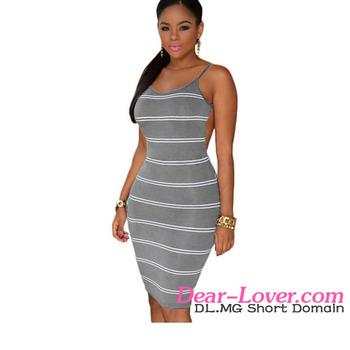 Dear-lover Women s O-neck Stripes Open Back Bodycon Dress - Buy Open ... 97b4741c9