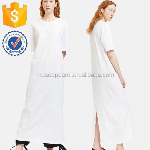 Maxi White Plus Size Shirt Dress OEM/ODM Women Apparel Clothing Garment Wholesaler Clothing Made to Order