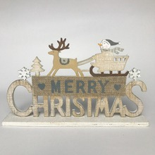 merry christmas deer and snowman wooden decoration