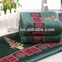 Green 100% cotton christmas tree embroidery with satin bath towel