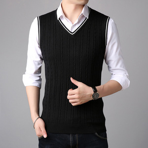 winter v-neck sleeveless man waistcoat sweater vest high quality classic
