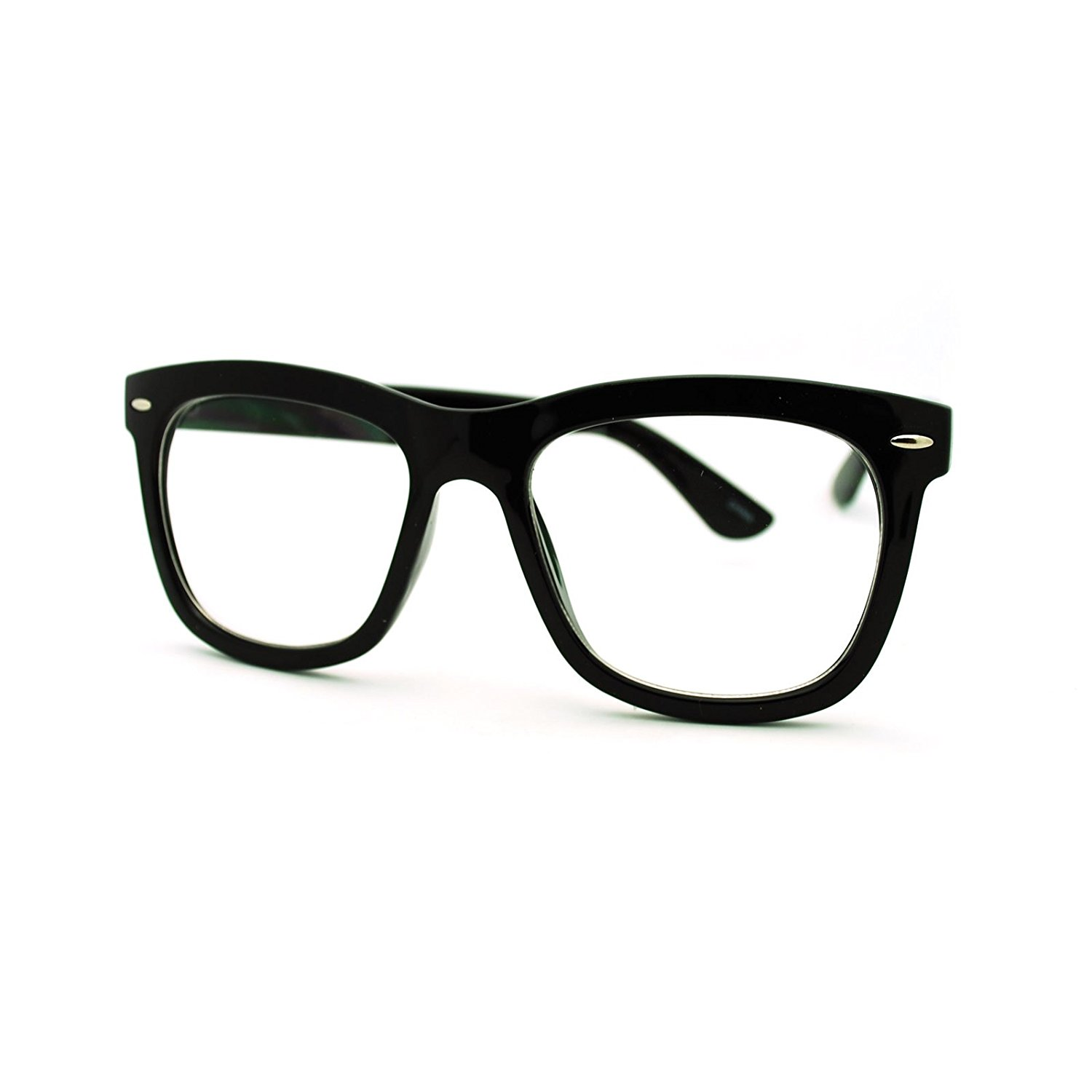 5762591780a Get Quotations · Clear Lens Eyeglasses Oversized Thick Square Frame Nerdy  Glasses
