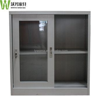 Office Desktop Small Sliding Glass Door Mini Cupboardsteel Filing