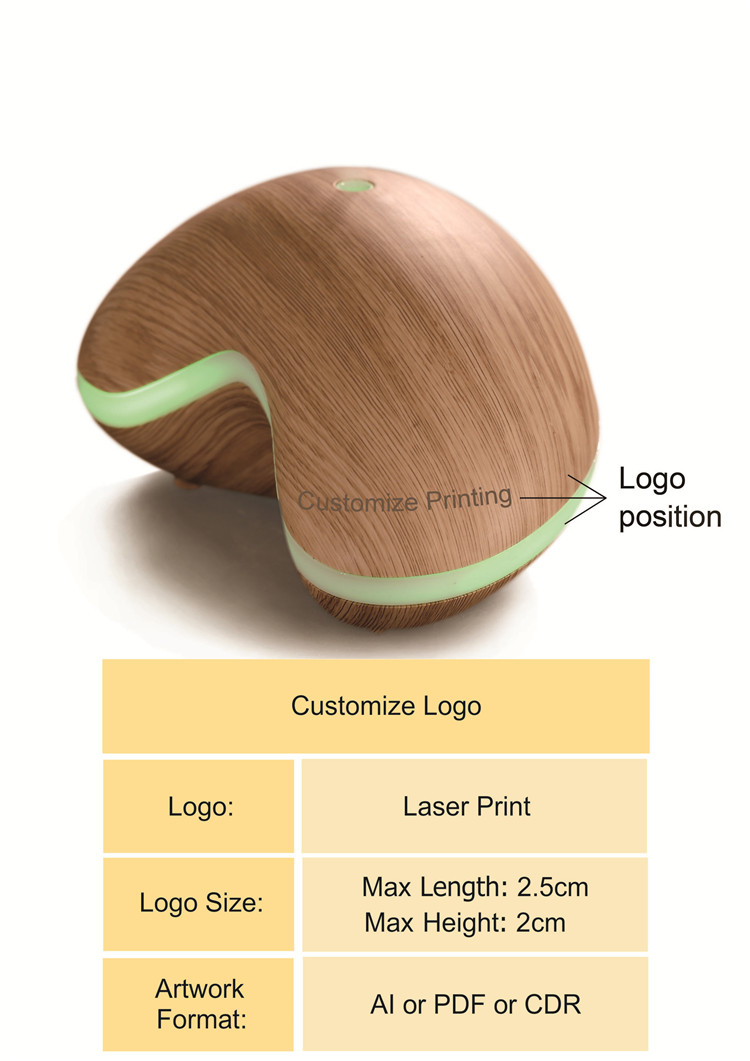 Indoor 300ml essential oil diffuser wood grain