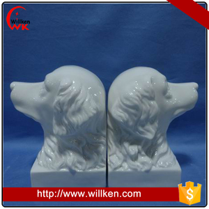 Ceramic animal dog head bookends decoration