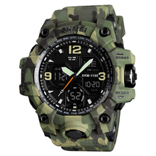 Skmei 1155 Fashion Olahraga <span class=keywords><strong>Digital</strong></span> Dual Time Army Jam Tangan Pergelangan Tangan Jam Tangan Pria Military Watch