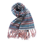 Bohemian style jacquard tassels knitted winter scarf