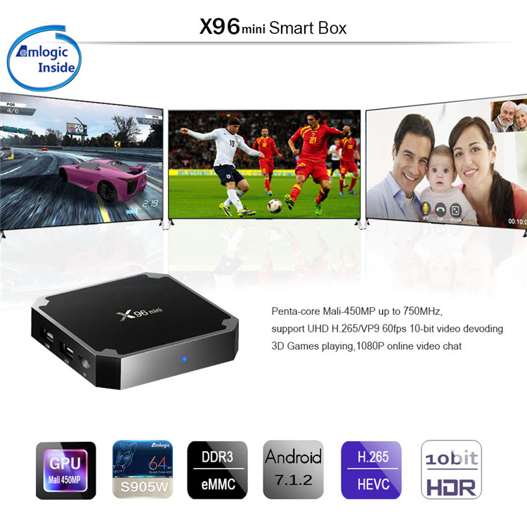 X96 Mini S905W 2 GB 16 GB caja de la TV Android 7,1 Quad Core Smart Media Player WIFI 4 K para muestra