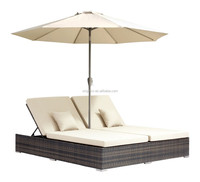 2018 beach hotel comfortable double seat outdoor chair rattan chaise lounge