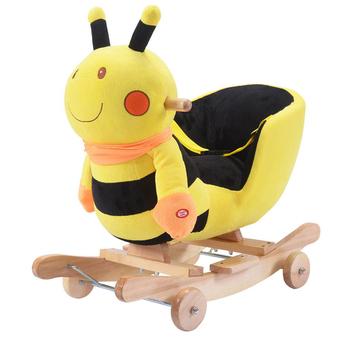 Baby Kids Toy Yellow Bee Plush Rocking Chair Rider Toddler Seat Wood