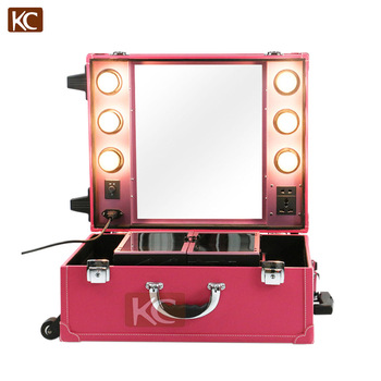Professional Portable Pvc Pu Leather Makeup Case With Lights